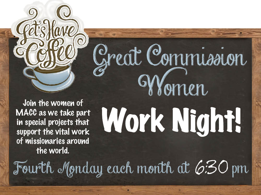 Great Commission Women's Work Night @ The MACC | Pittston | Pennsylvania | United States